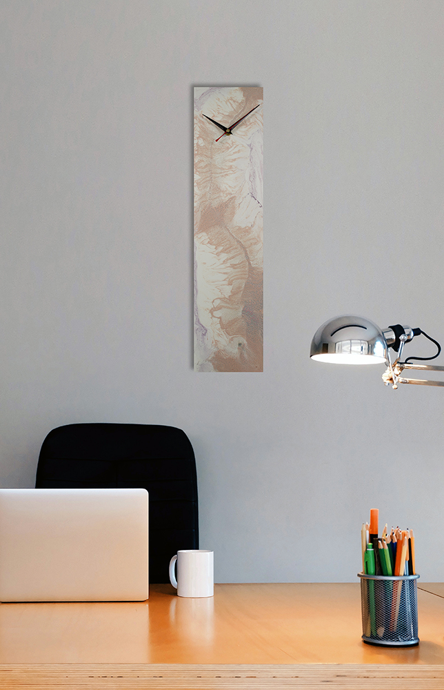 Rectangular Mocha Glass Clock with an Abstract Design - Click for more