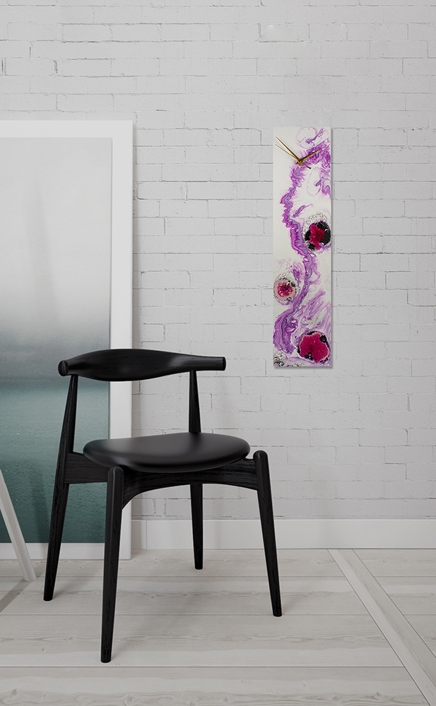 Upright White and Purple Modern Glass Clock - Click for more