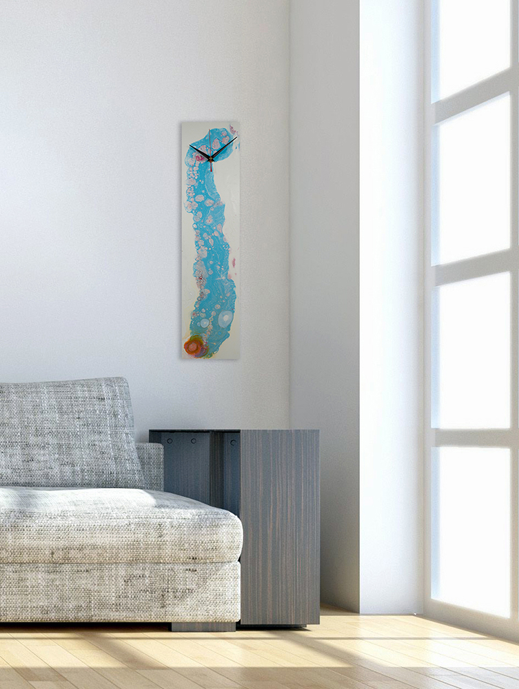 Rectangular White and Blue Abstract Wall Clock with a Modern Design - Click for more
