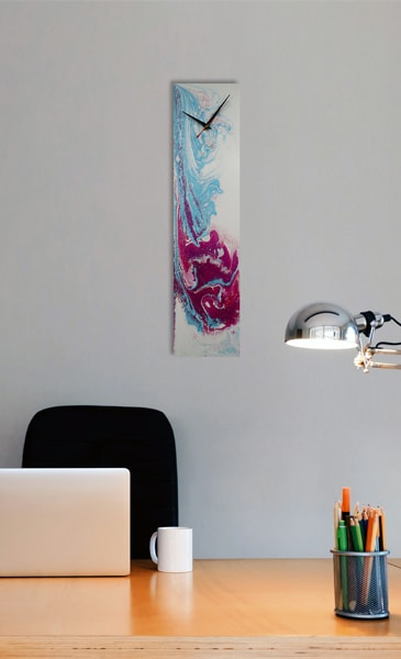 Cool Blue and Red Abstract Wall Clock in situ