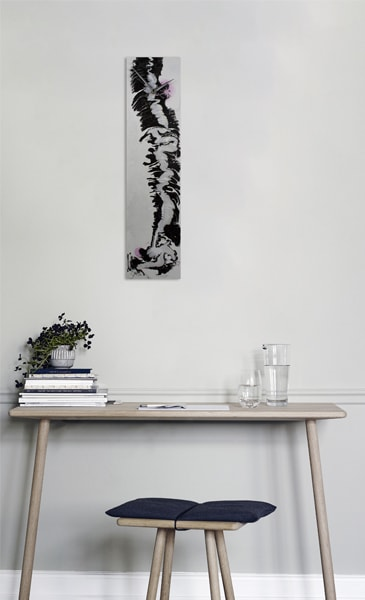 Rectangular Black and White Wall Clock in situ