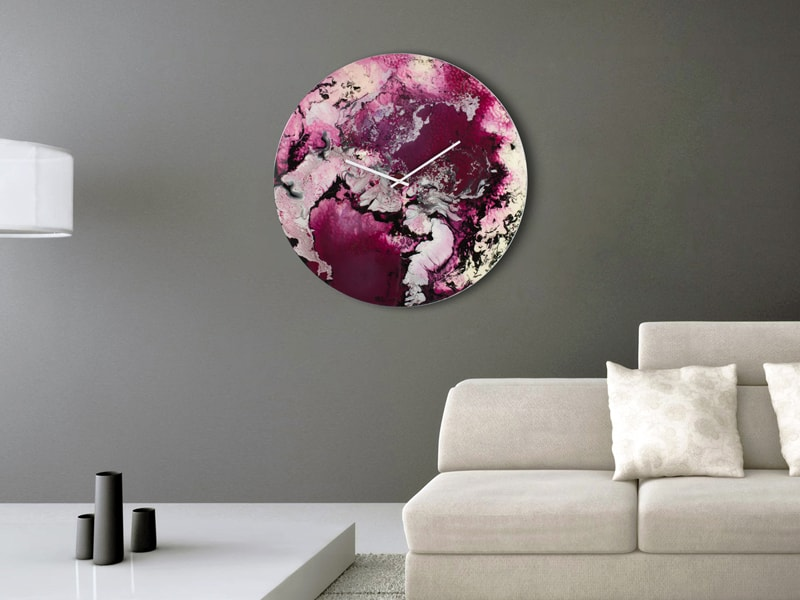 Extra Large Wall Clock in Purple and White in situ