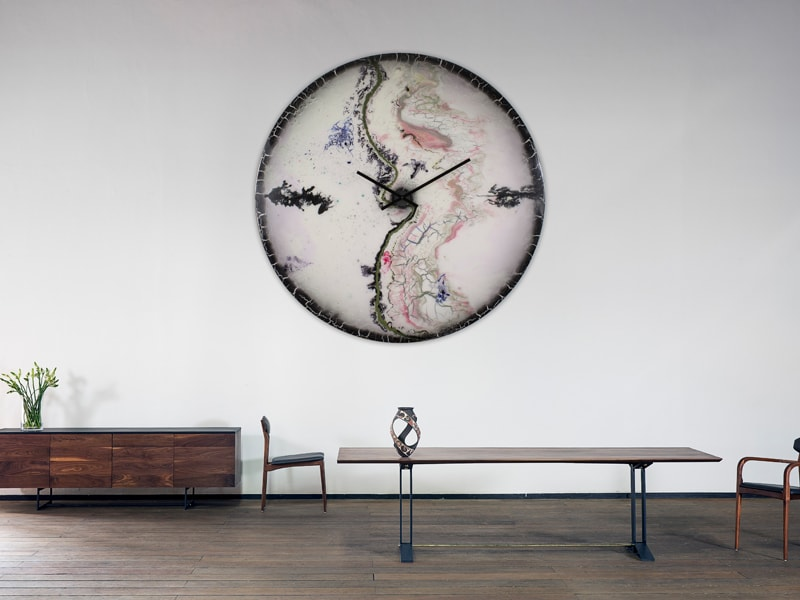 Oversized White and Black Glass Wall Clock in situ