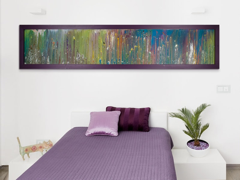 Purple Framed Horizontal Art on Glass in situ