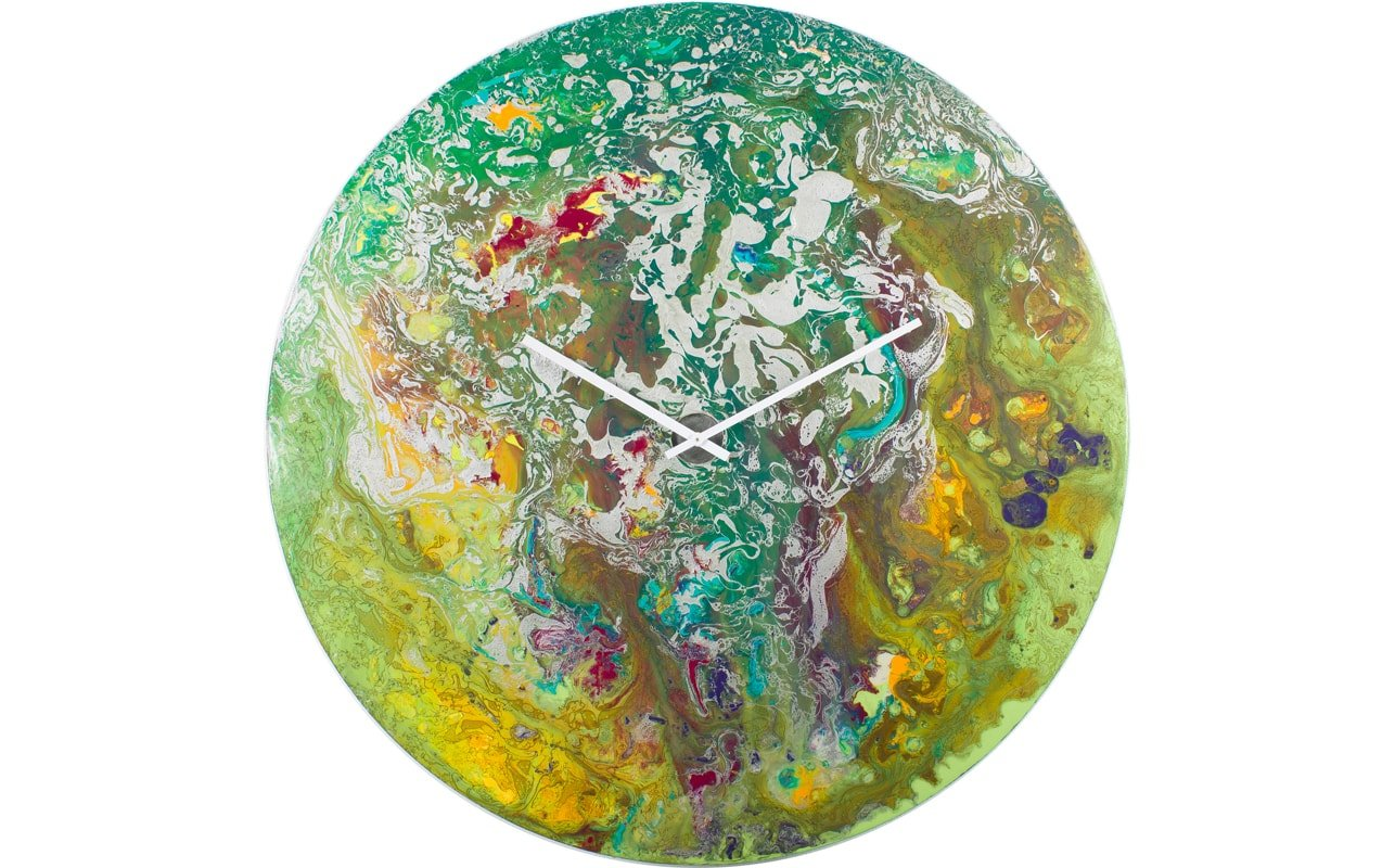 A Green Clock made of Glass with an Abstract Design