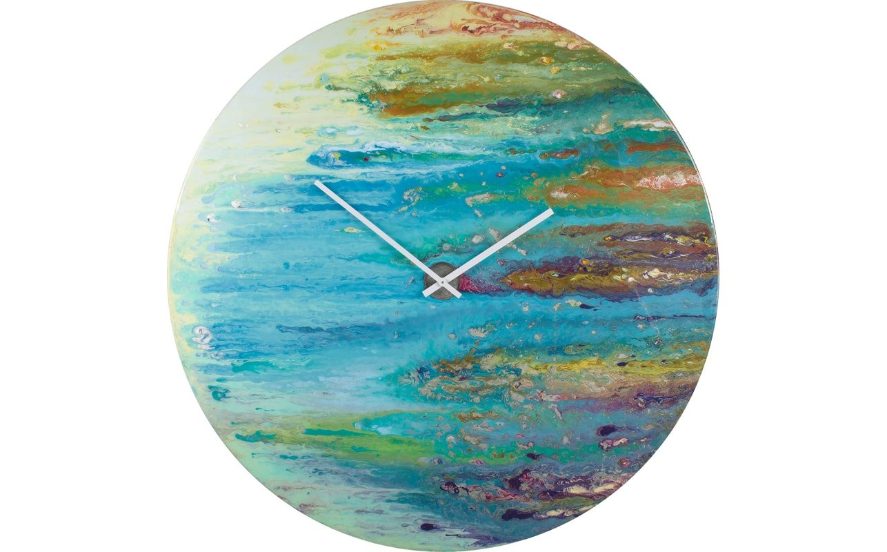 A Big Round Blue Glass Clock with Streaks of White and Green