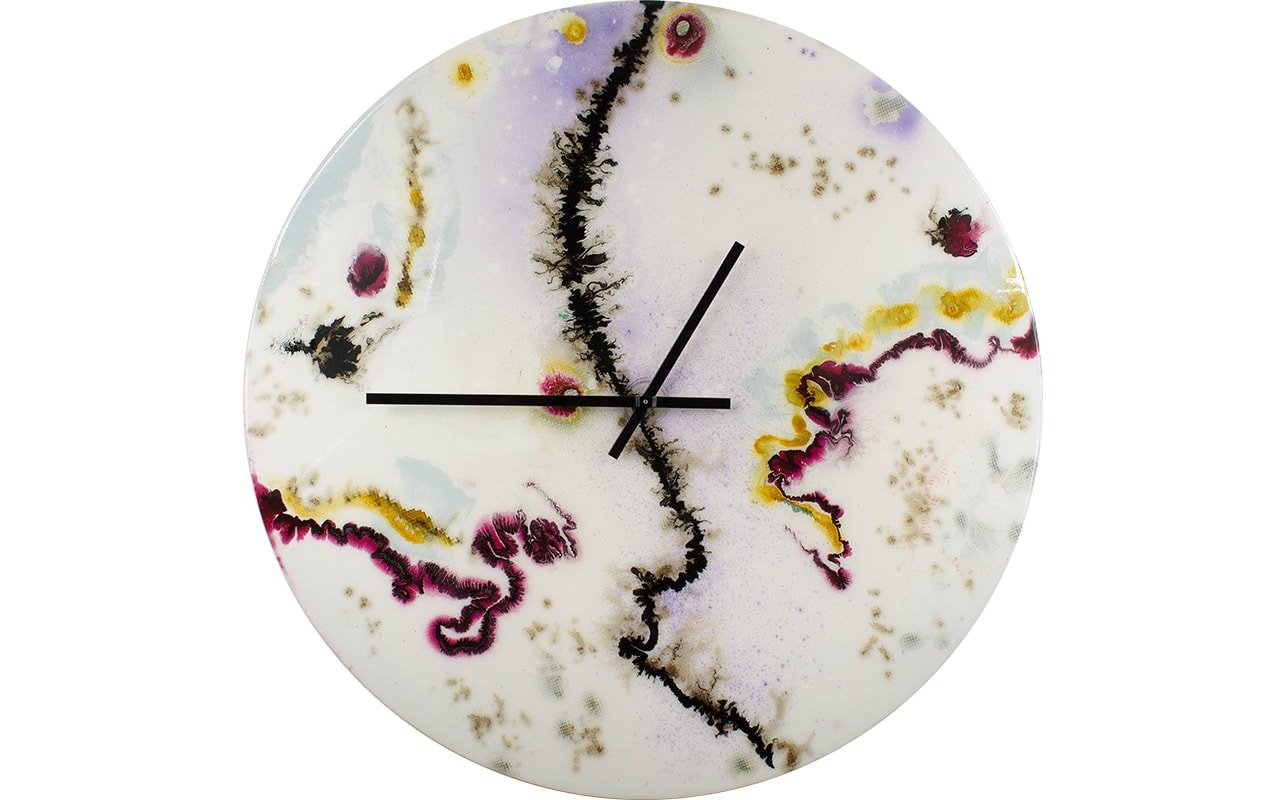Big White Wall Clock with Black and Red Accents