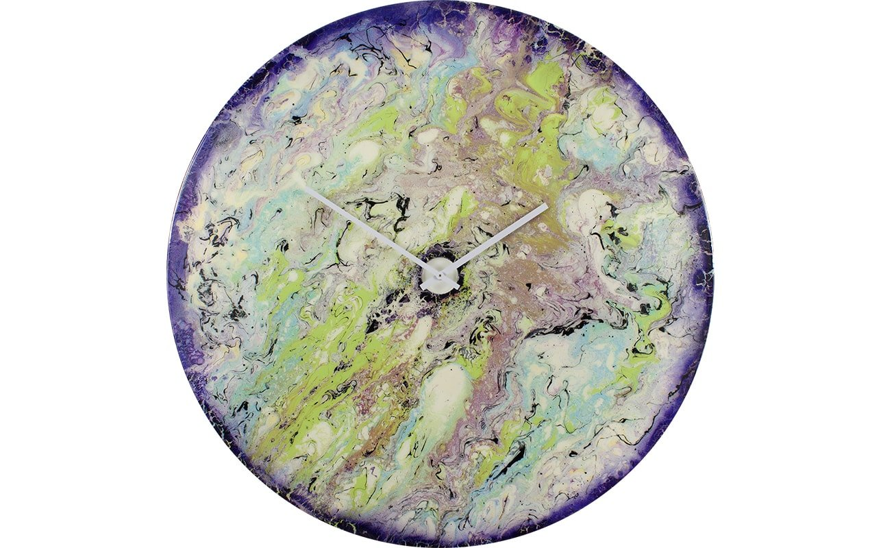 Extra Large Bedroom Clock with Purple, Green and Blue Colours. With White Hands