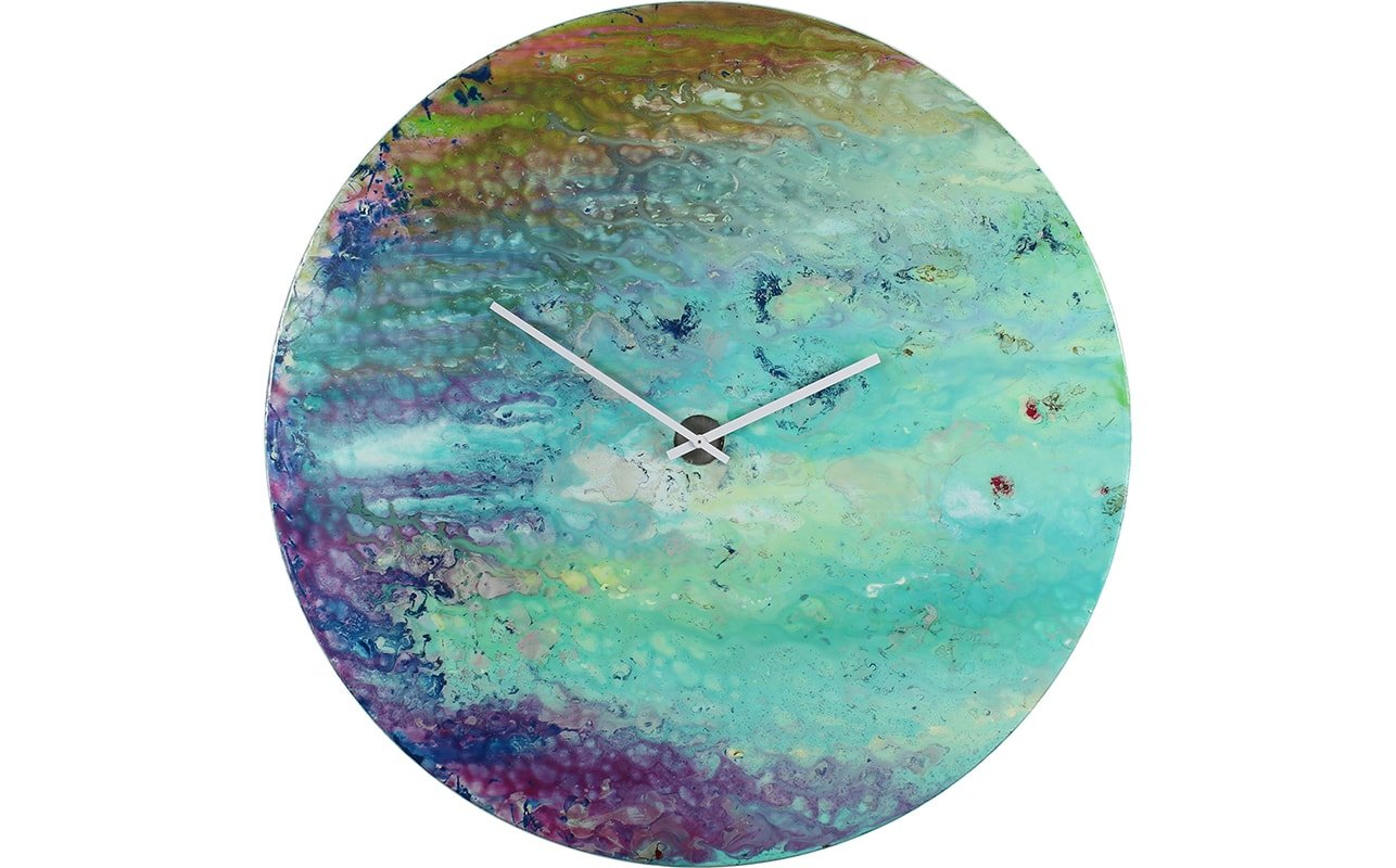 A Large Blue Abstract Wall Clock Circular in Shape