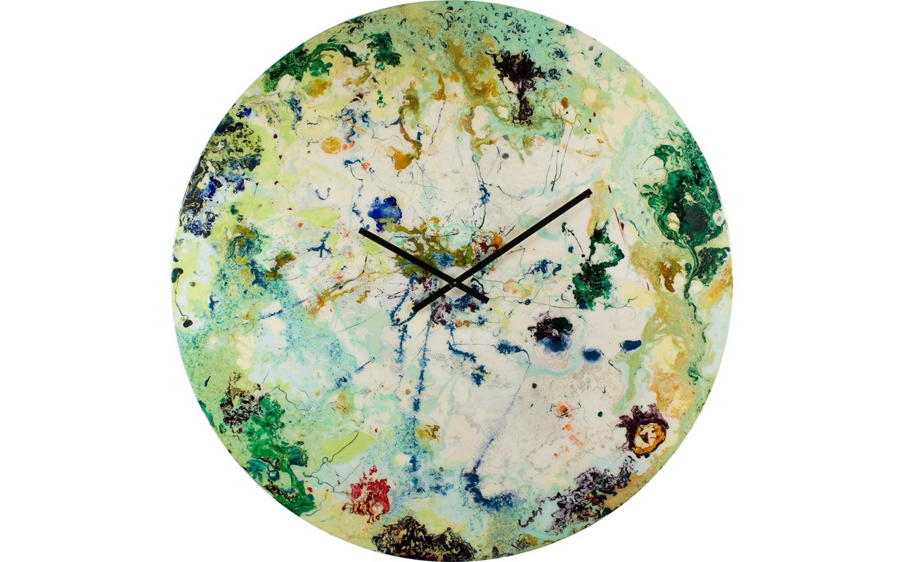 An Extra Large Modern Wall Clock in Green with Highlights of White and Blue, with Black Hands