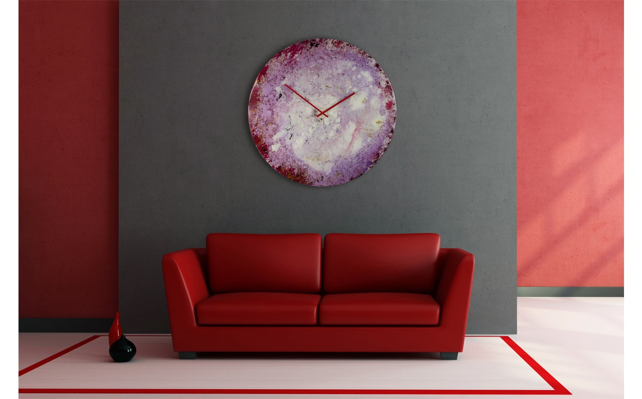 Large Circular Glass Wall Clock in Red, with White and Cream Accents