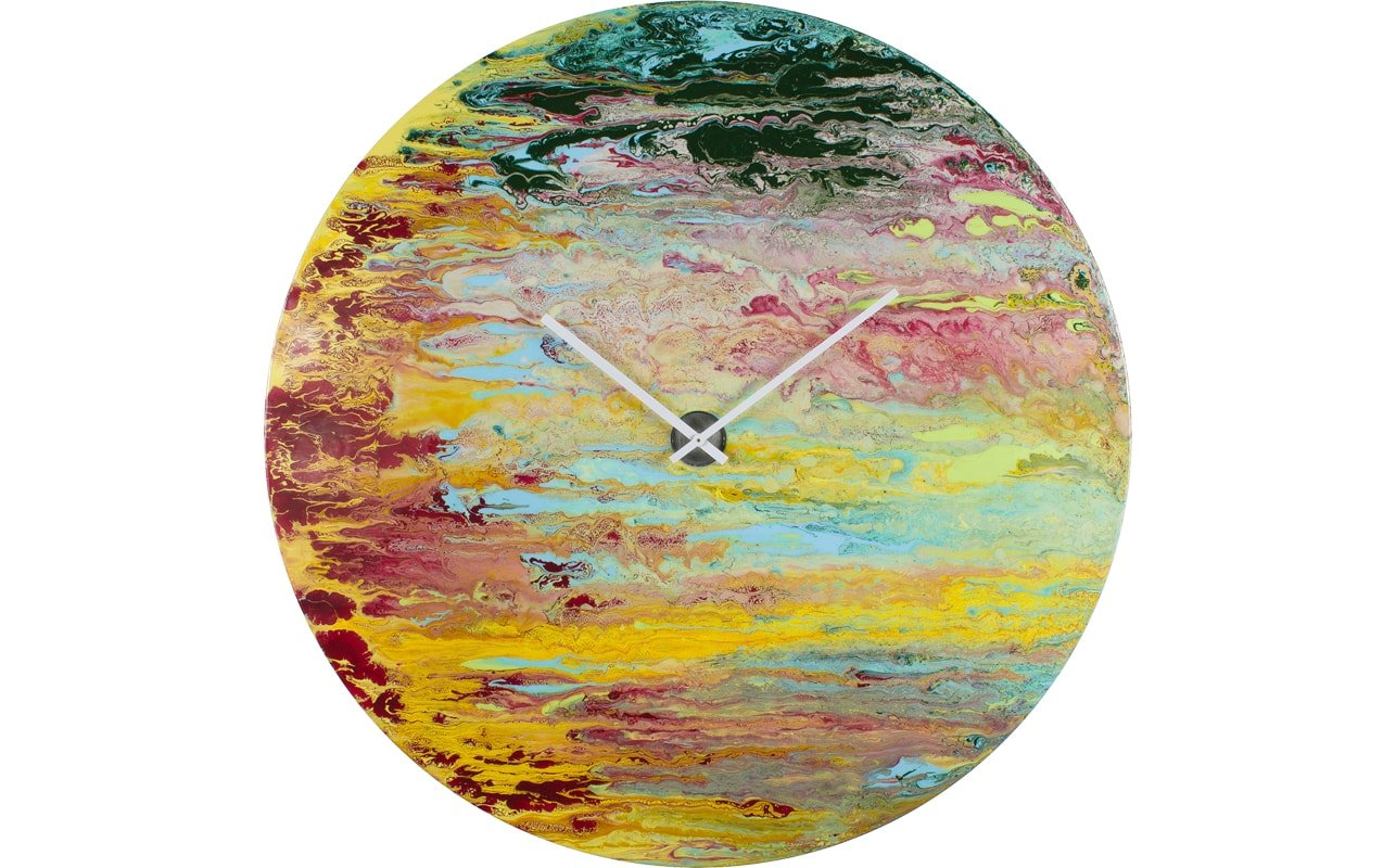 A Large Luxury Circular Clock with Red, Yellow and Green Streaks