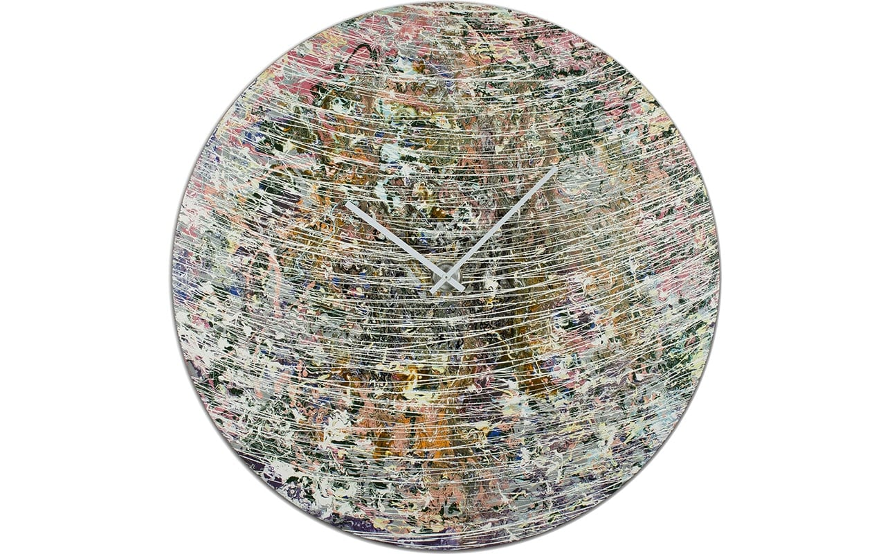 Circular Planetary Wall Art with an Abstract theme. With White streaks and White Hands