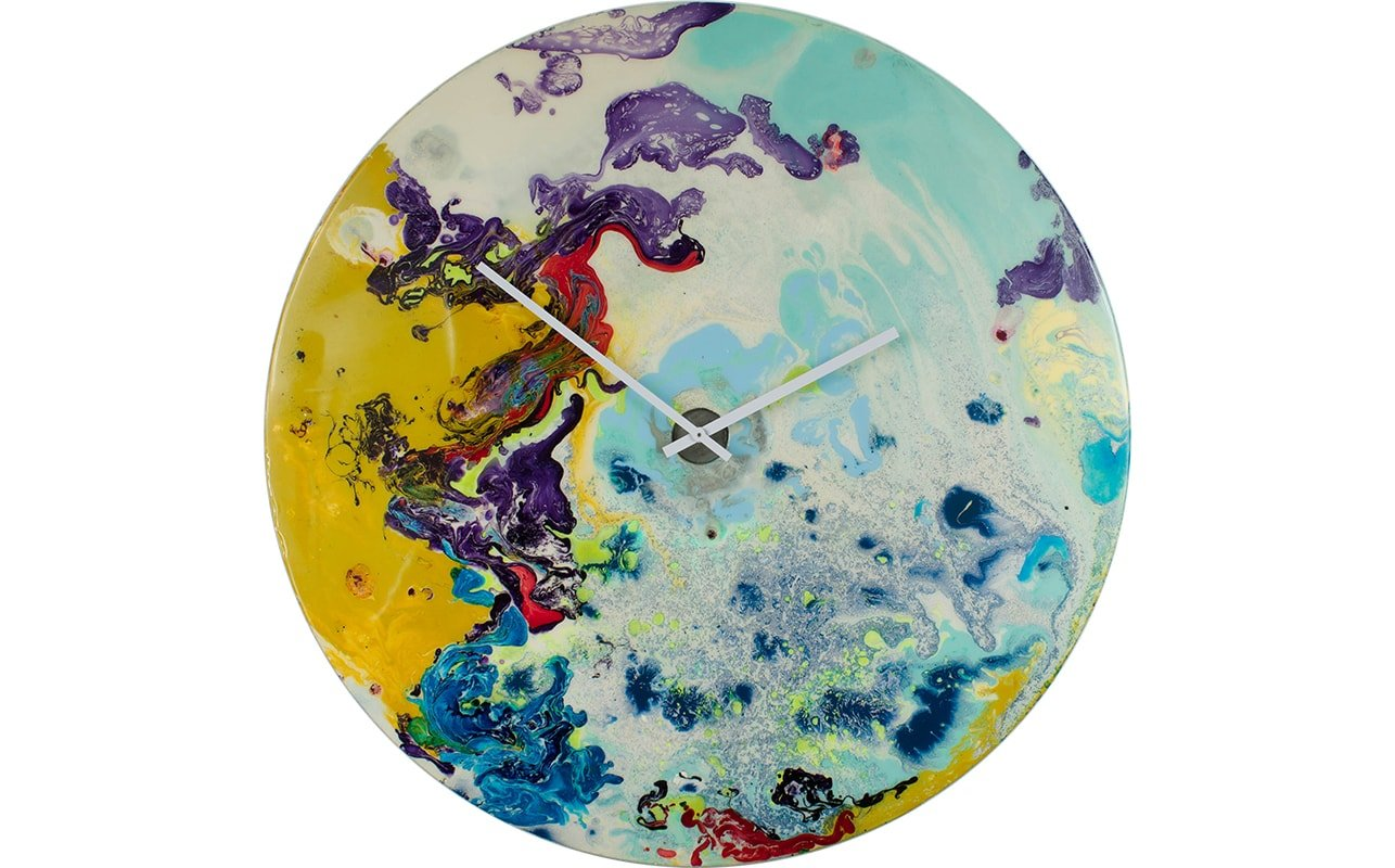 Sky Blue Decorative Wall Clock with Dark Blue, Bright Red, and Zesty Yellow