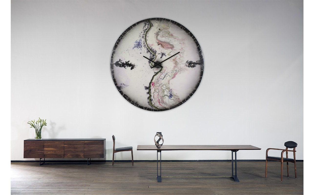 Oversized White and Black Glass Wall Clock