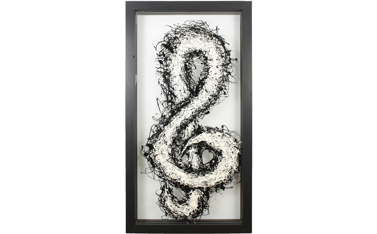 Treble Cleff Music Wall Art on Glass with a Black Frame