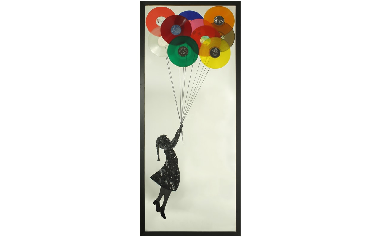 Extra Large Mirror. Featuring Balloon Girl Originally by Banksy. Made using broken records