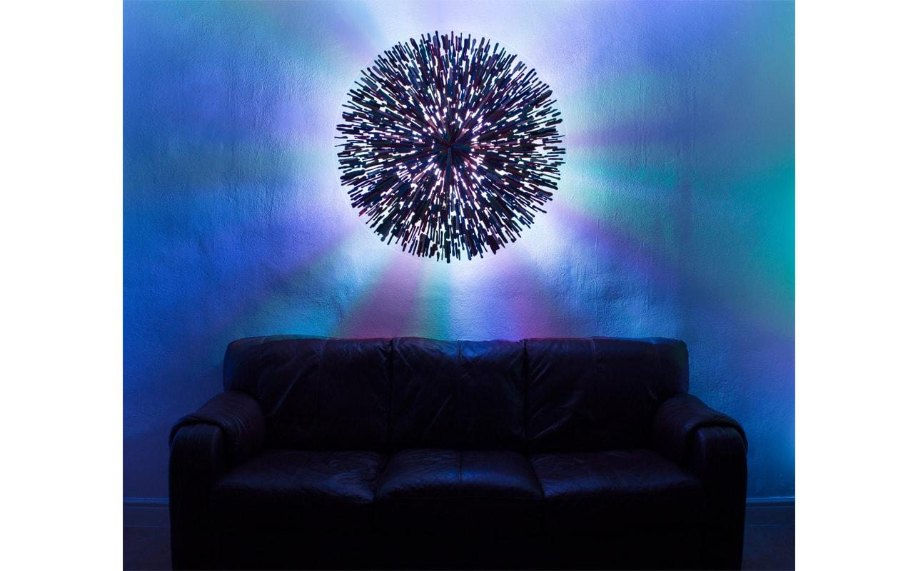 Large Circular Wall Light : Multi Coloured : Handmade Glass Art
