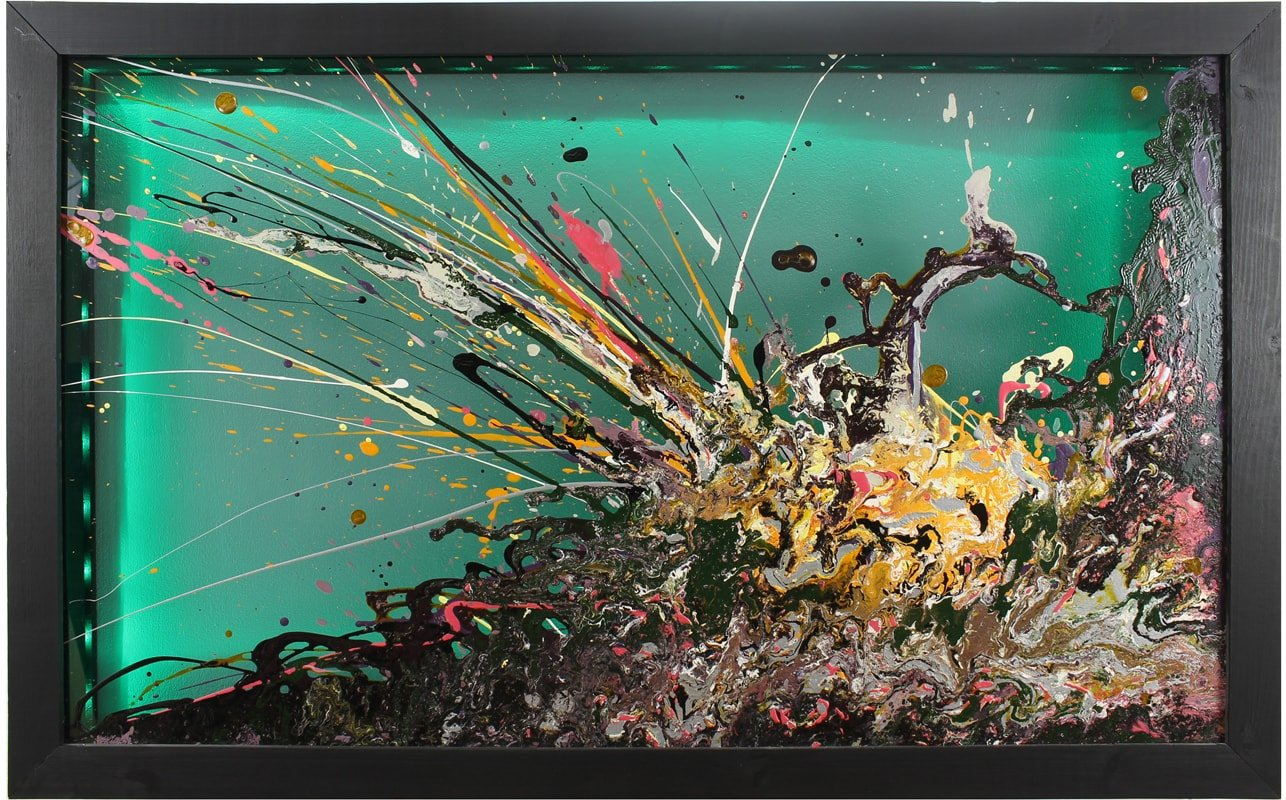 Abstract Glass Art : Framed : With Lighting