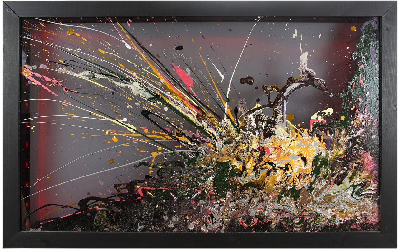 Abstract Glass Wall Art with Black Wooden Frame