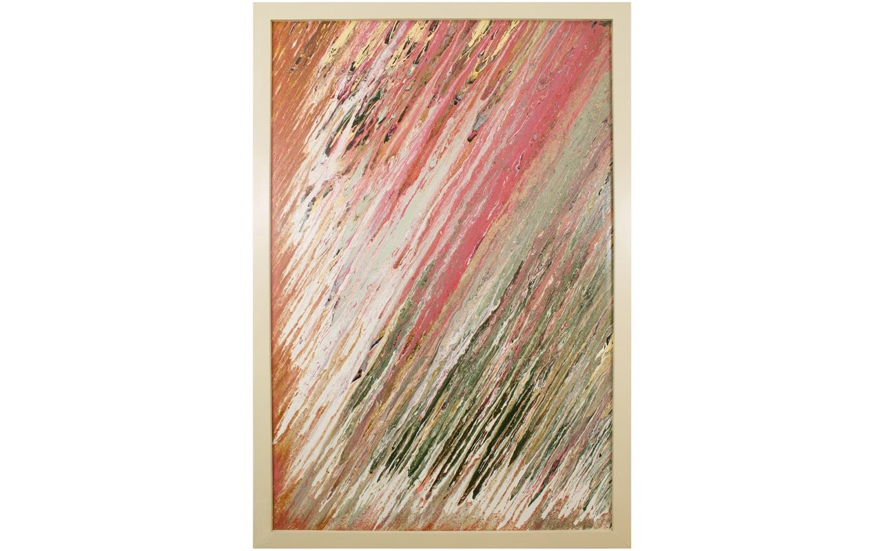 Large Abstract Wall Art with Solid Wood White Frame