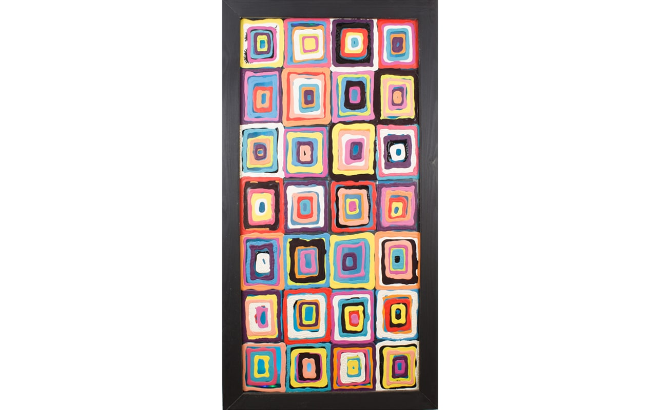 Multi-Coloured Glass Art with Black Frame