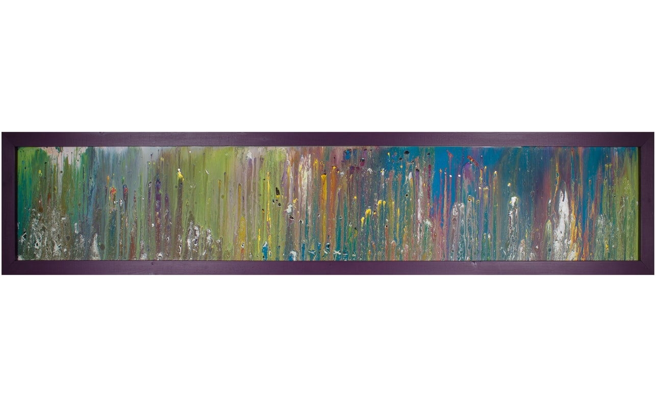 Purple Framed Horizontal Art on Glass. Tall. Long